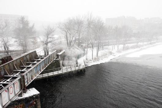 在波士頓大學大橋上隔河遠眺