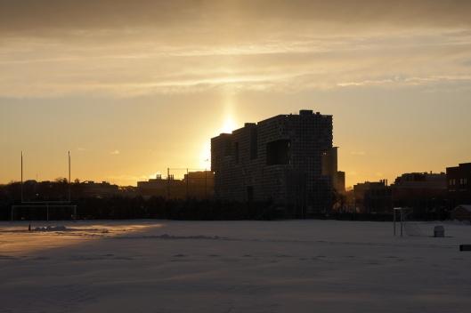 太陽光受空中冰晶反射形成的日柱