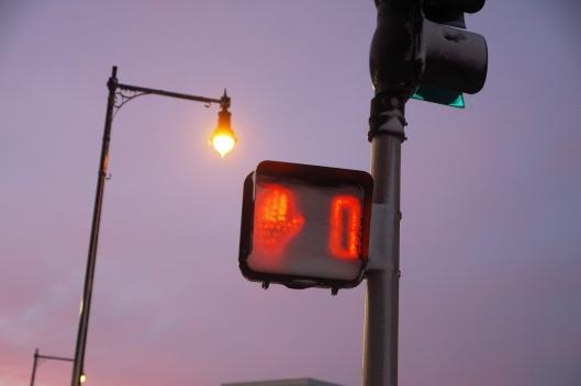 被雪覆蓋的人行道號誌燈