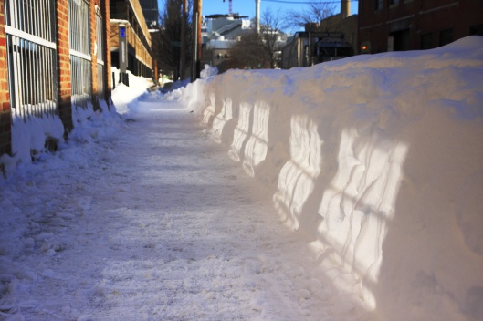 人行道邊半人高的雪牆