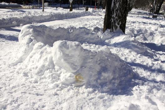 公園裡的雪堡