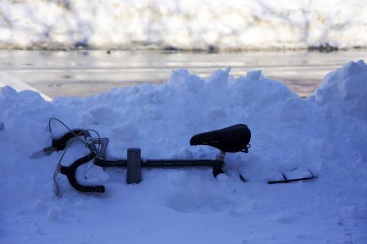 被雪埋沒的腳踏車。這時路面已經除雪完成